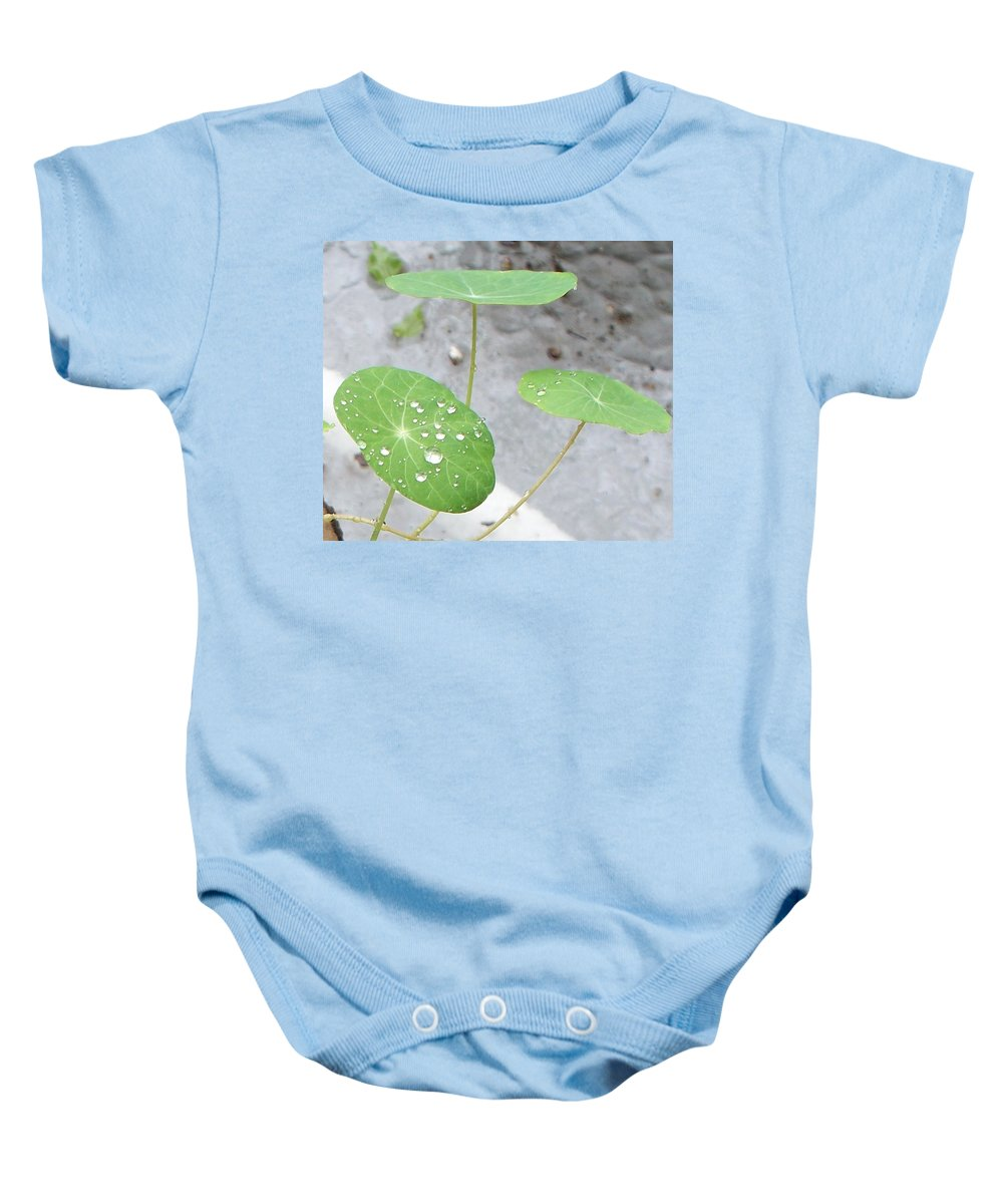 Floral Baby Onesie featuring the painting Raindrops On A Nasturtium Leaf by Eric Schiabor