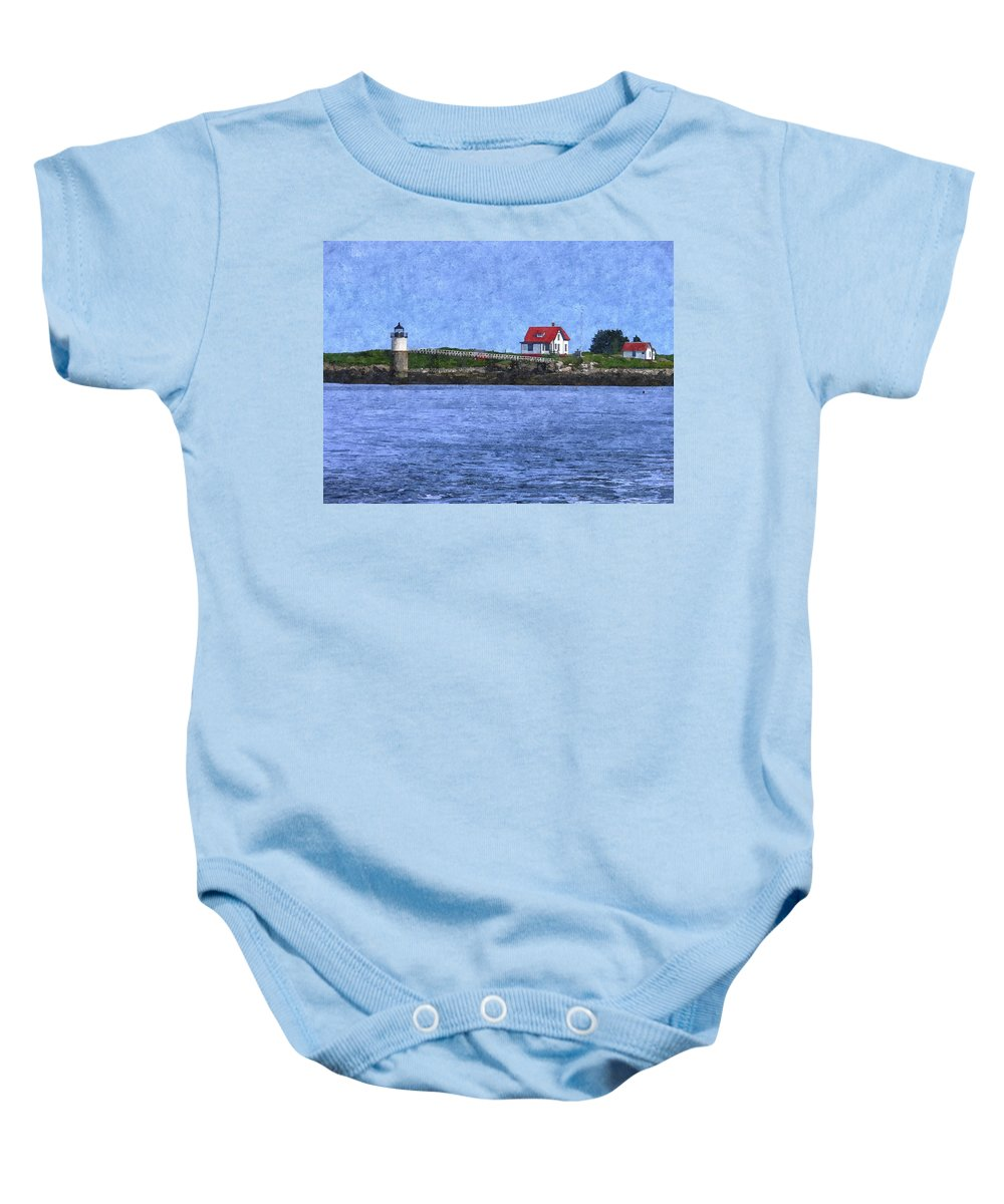 Ram Island Lighthouse Baby Onesie featuring the photograph Ram Island Lighthouse by Nancie DeMellia