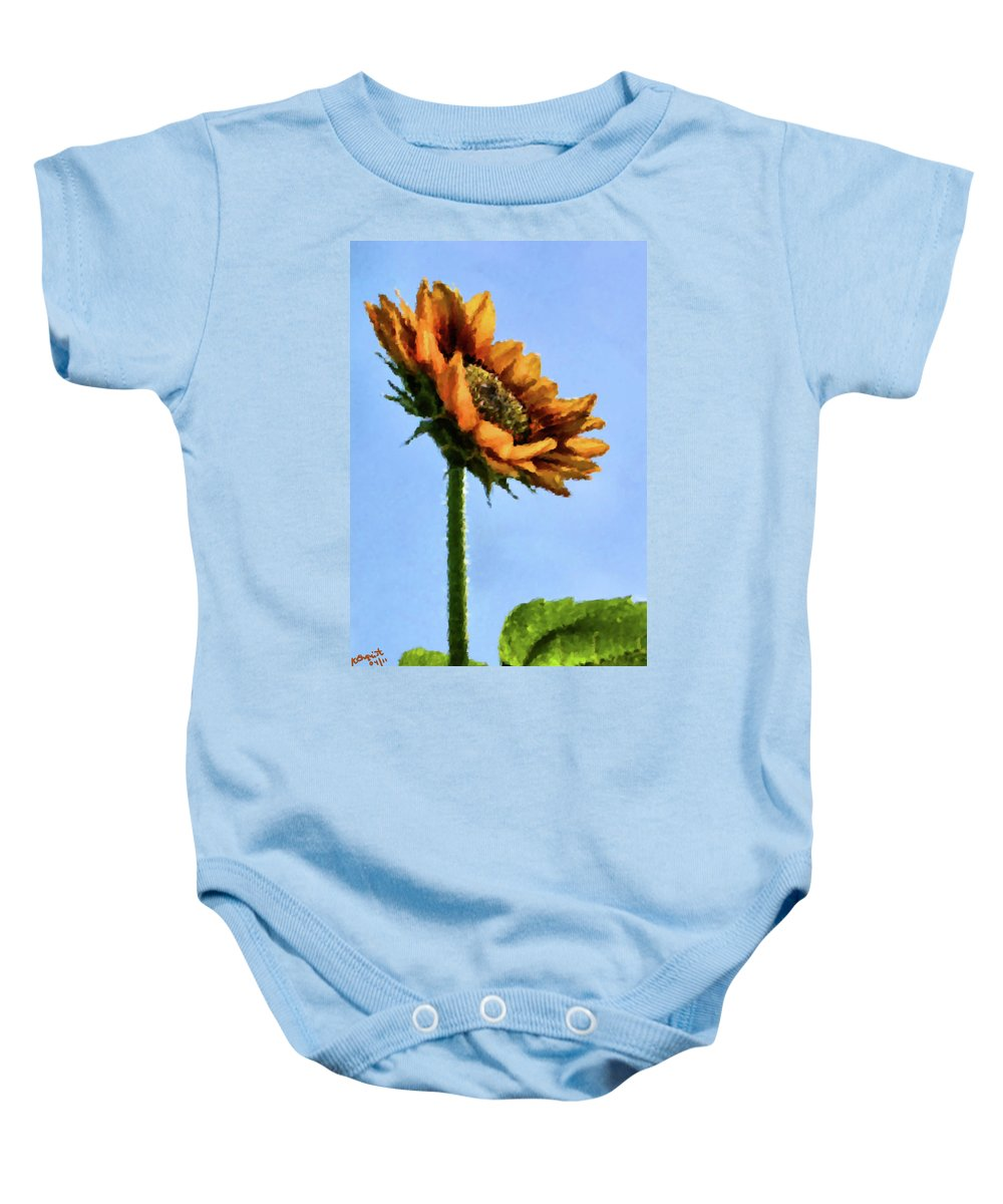 Sunflower Baby Onesie featuring the painting Reach For The Sun by Kristin Elmquist