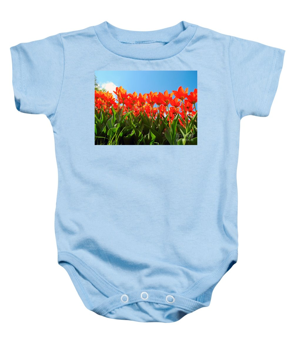 Tulips Baby Onesie featuring the photograph Reach For The Sun. by Tatyana Gundar