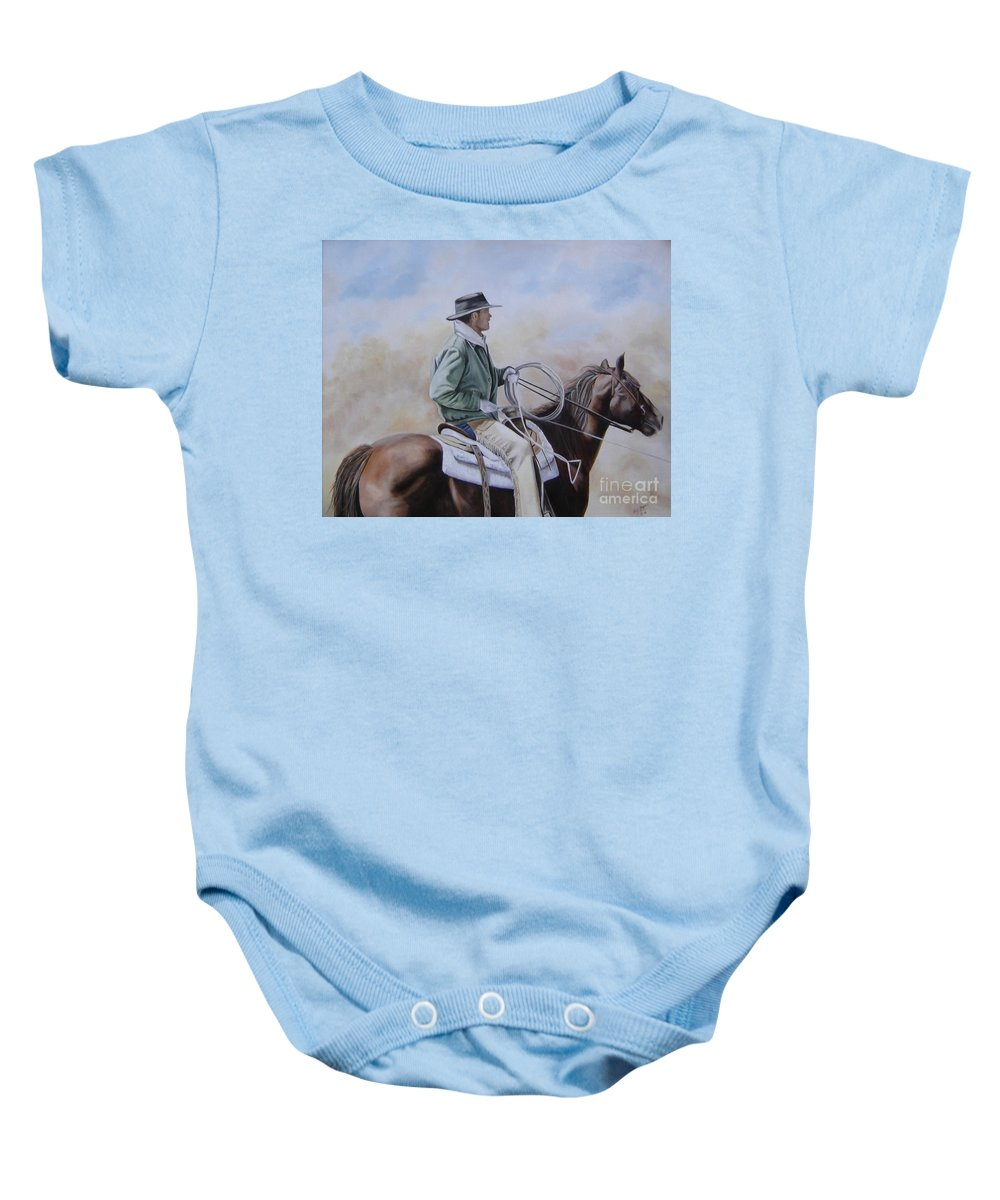 Ranch Baby Onesie featuring the painting Ready To Rope by Mary Rogers