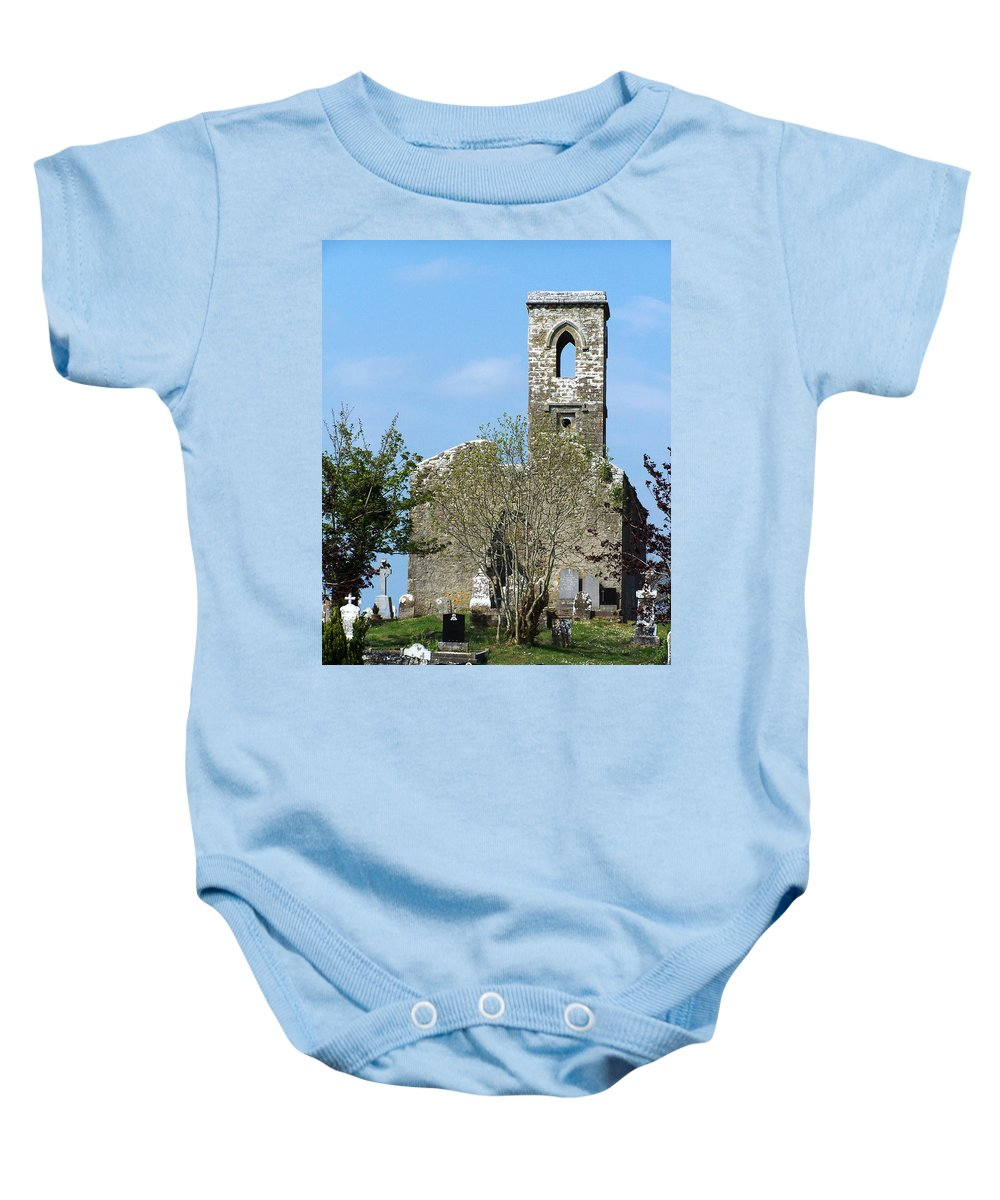 Fuerty Baby Onesie featuring the photograph Rear View Fuerty Church And Cemetery Roscommon Ireland by Teresa Mucha