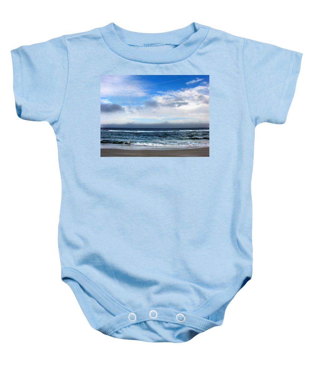 Seascape Baby Onesie featuring the photograph Receding Fog Seascape by Steve Karol