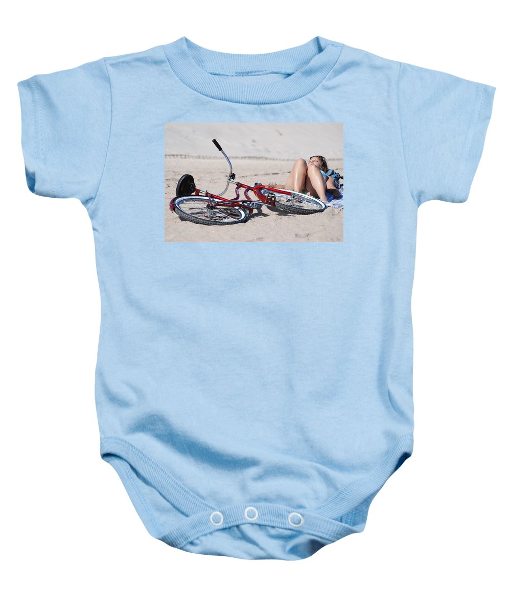 Red Baby Onesie featuring the photograph Red Bike On The Beach by Rob Hans