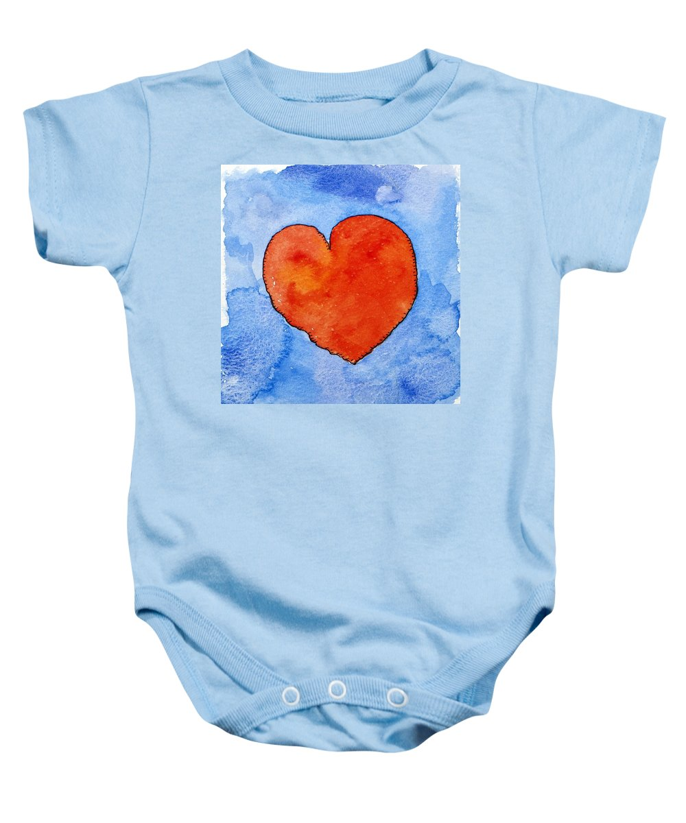 Heart Baby Onesie featuring the painting Red Heart On Blue by Jennifer Abbot