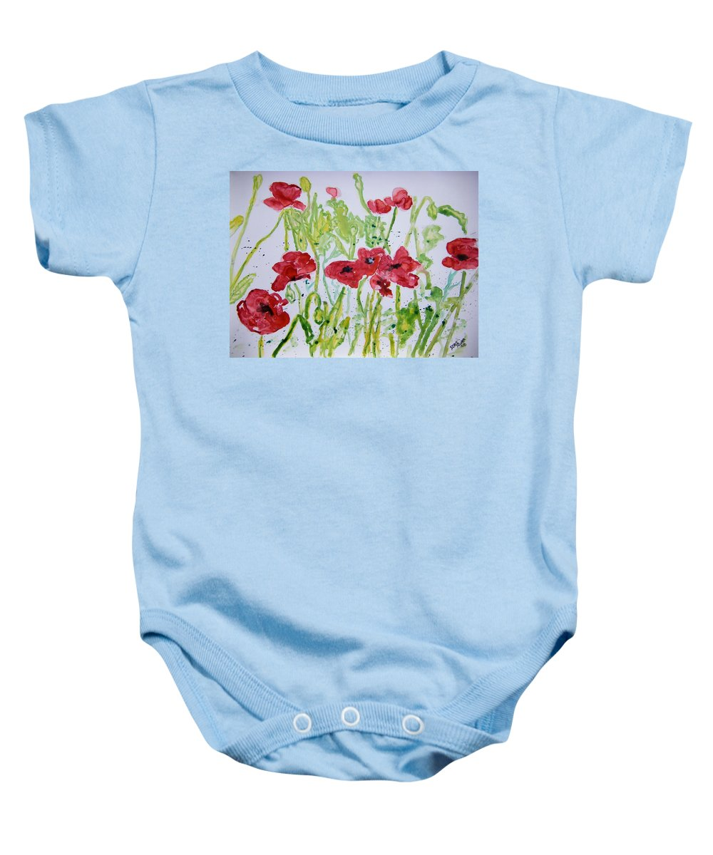 Poppy Baby Onesie featuring the painting Red Poppy Flowers by Derek Mccrea