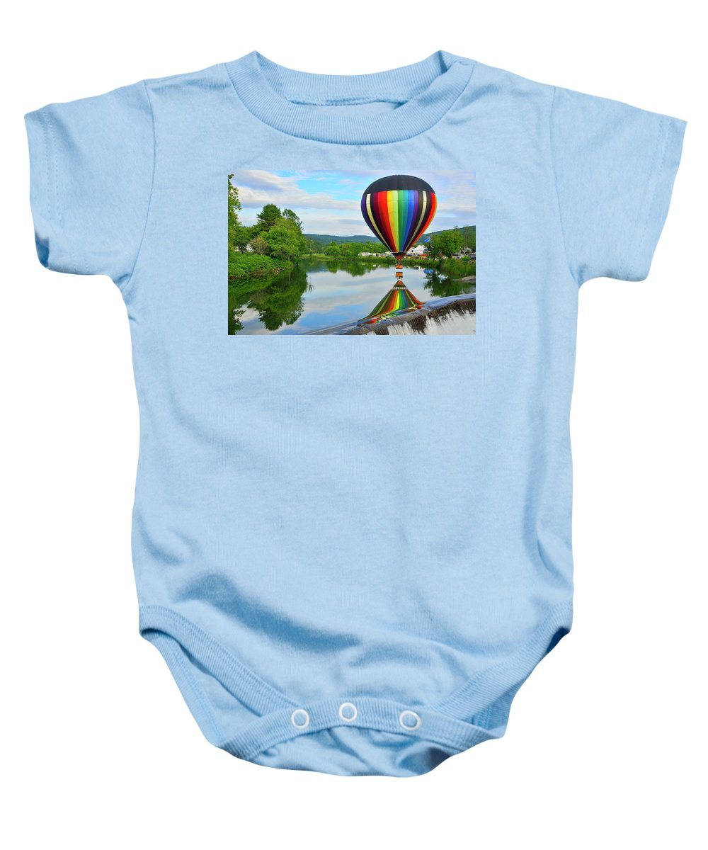 Balloon Baby Onesie featuring the photograph 'reflecting' by Jim Bosch