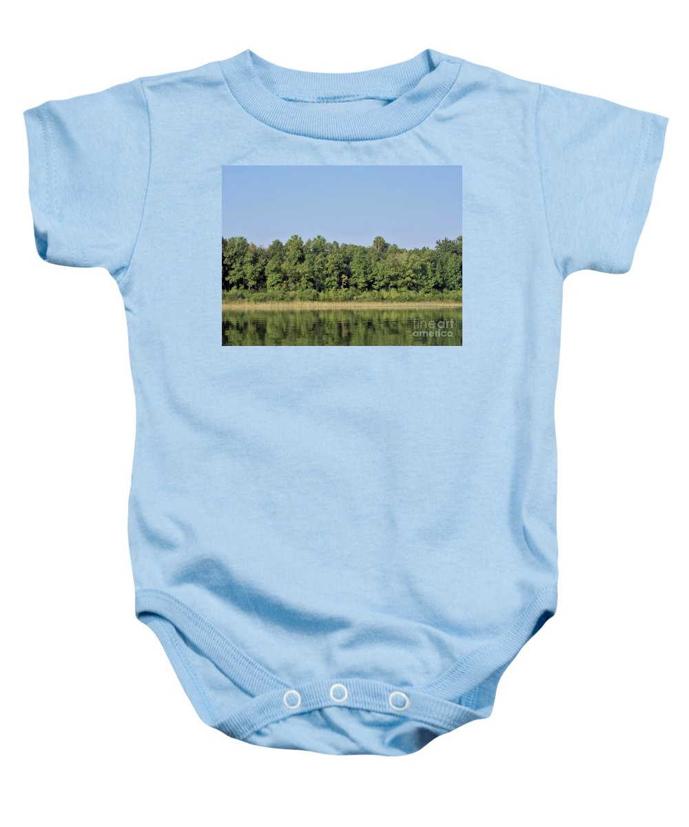 Lake Weir Baby Onesie featuring the photograph Reflection - On - The - Water by D Hackett