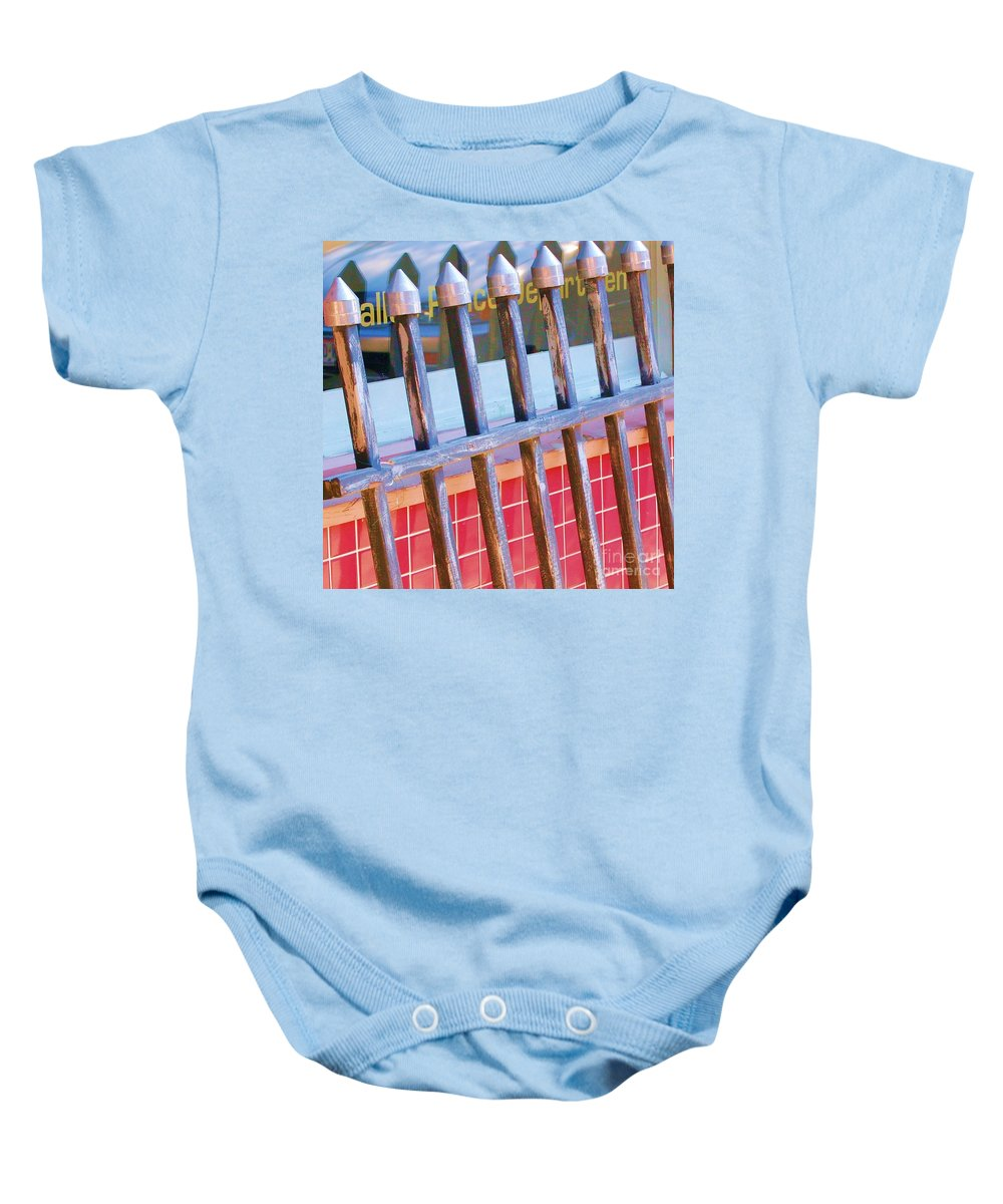 Gate Baby Onesie featuring the photograph Reflections by Debbi Granruth