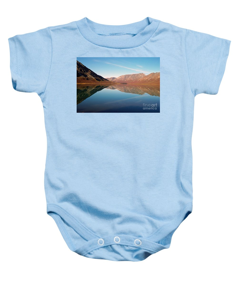 Lake Baby Onesie featuring the photograph Mountains Reflected On A Beautiful Lake by Denise McAllister
