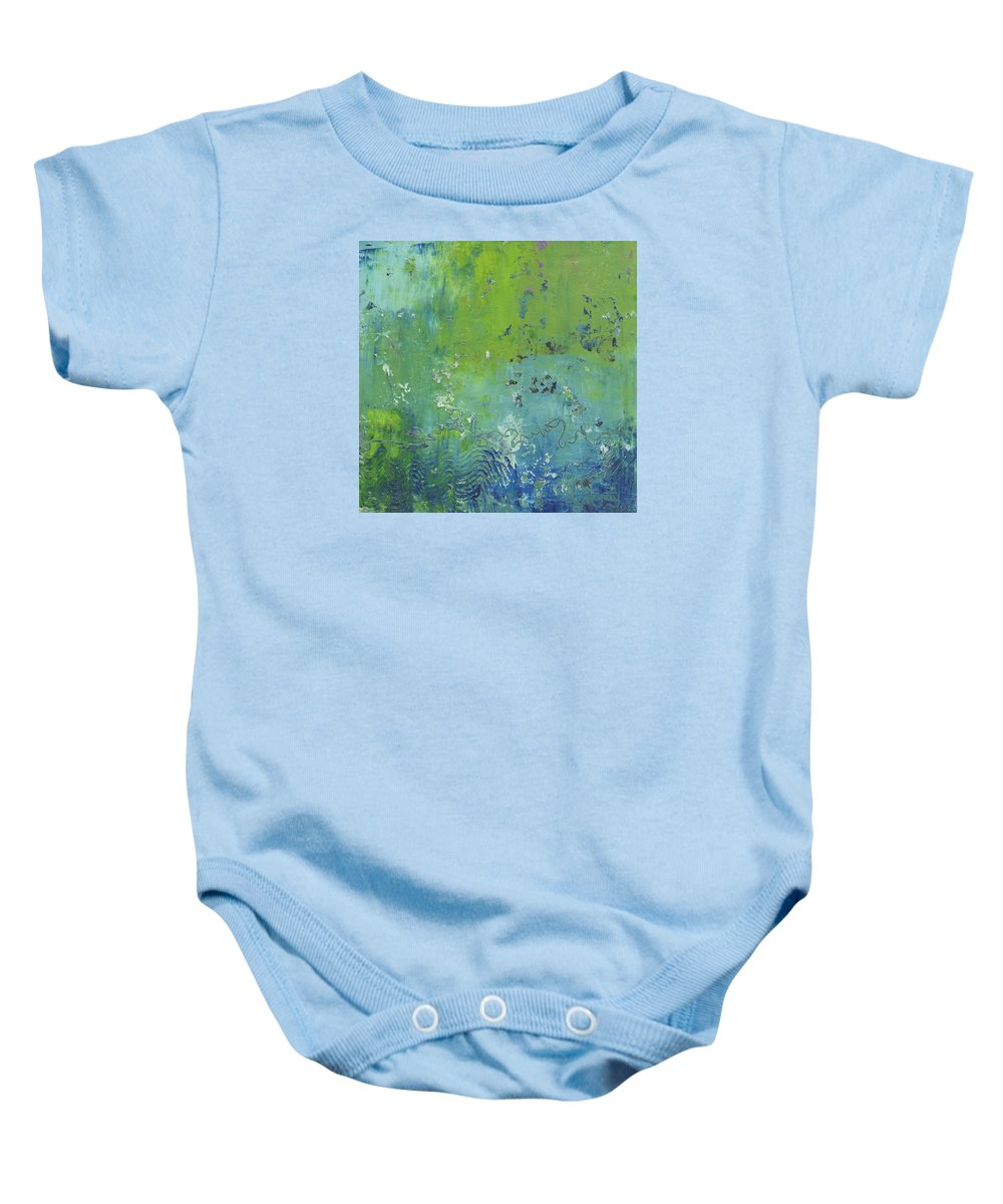 Abstract Baby Onesie featuring the painting Reflections by Marcy Brennan