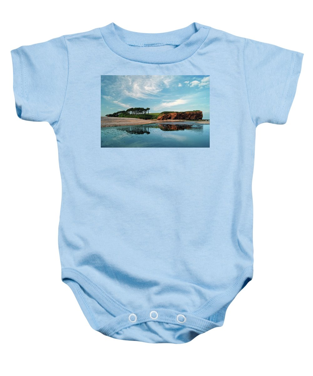 Budleigh Salterton Baby Onesie featuring the photograph Reflections Of Budleigh by Darren Galpin