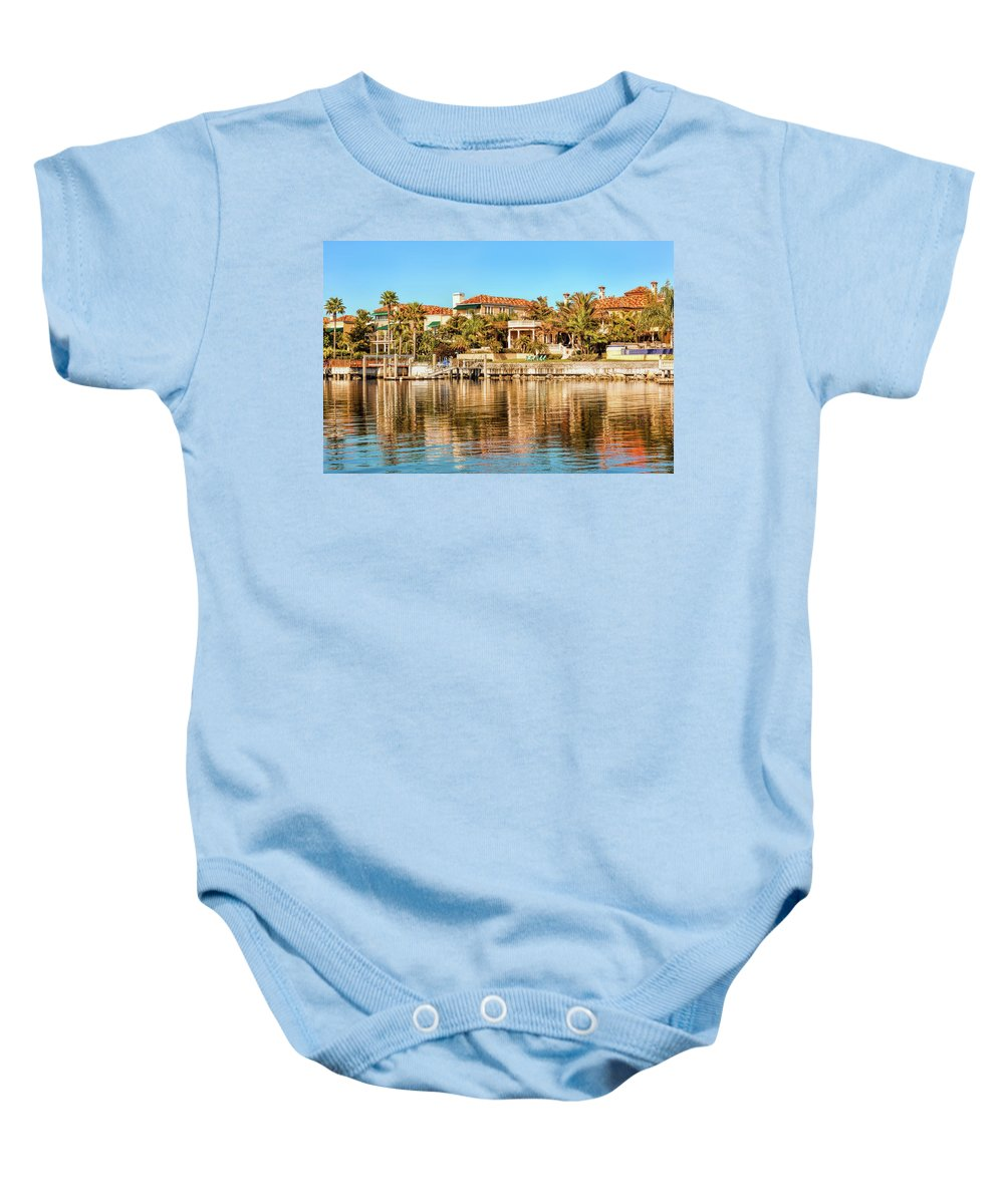 Bay Baby Onesie featuring the photograph Reflections Of The Rich And Famous by John M Bailey