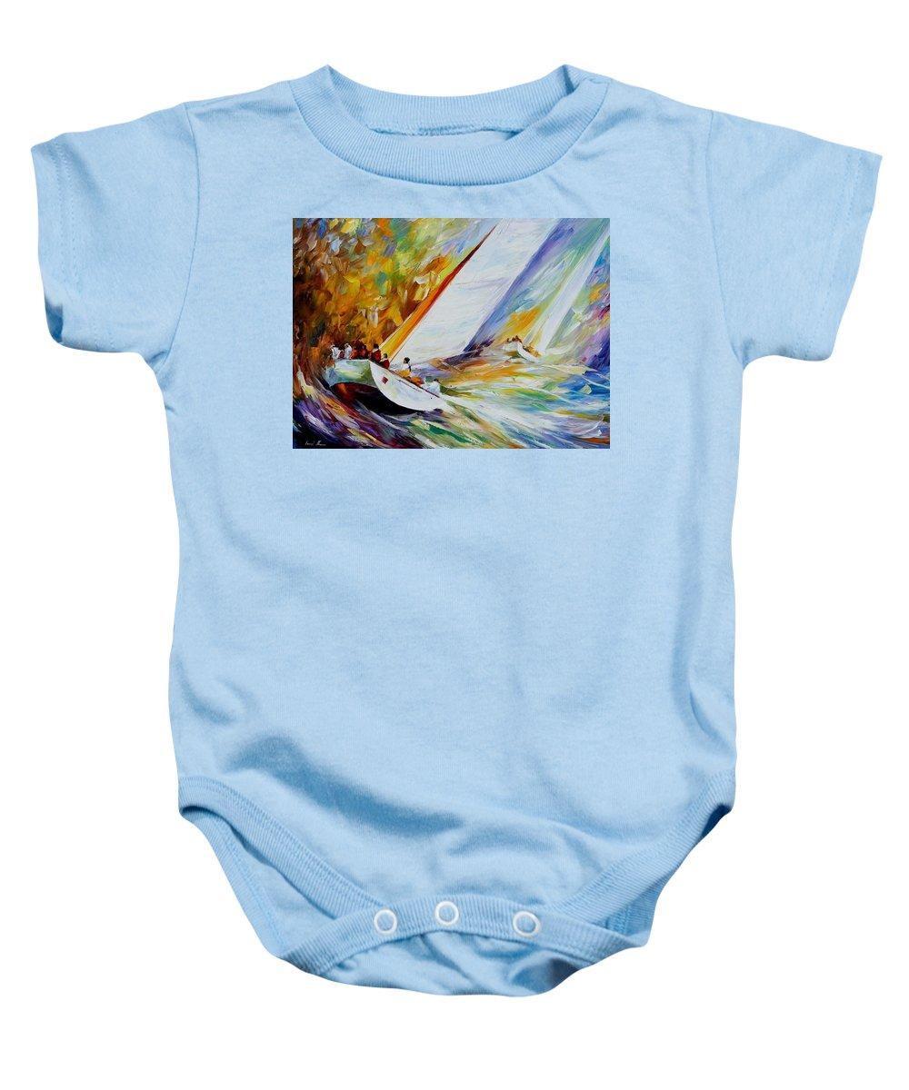 Afremov Baby Onesie featuring the painting Regatta by Leonid Afremov