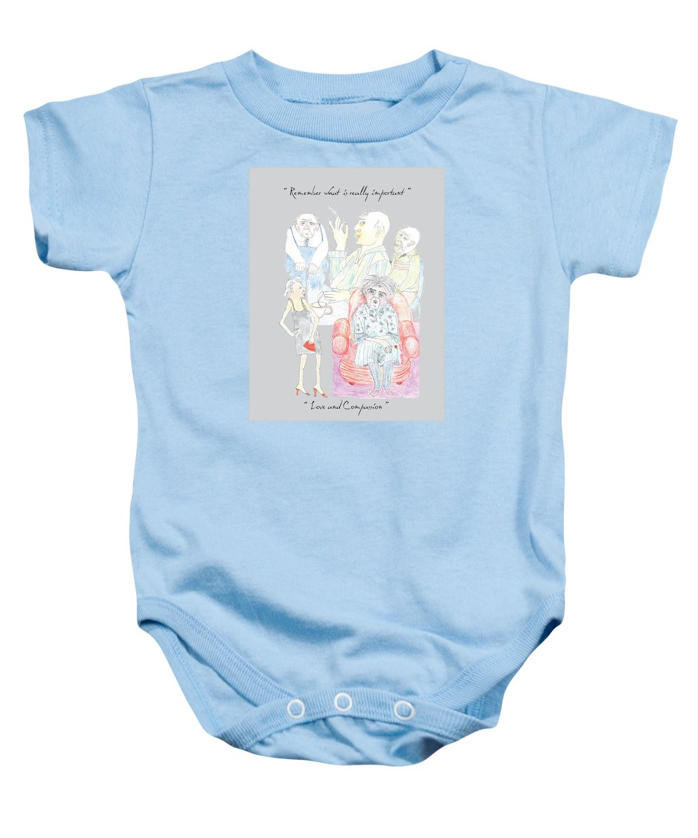 Humor Baby Onesie featuring the drawing Remember What Is Really Important by Heather Hennick