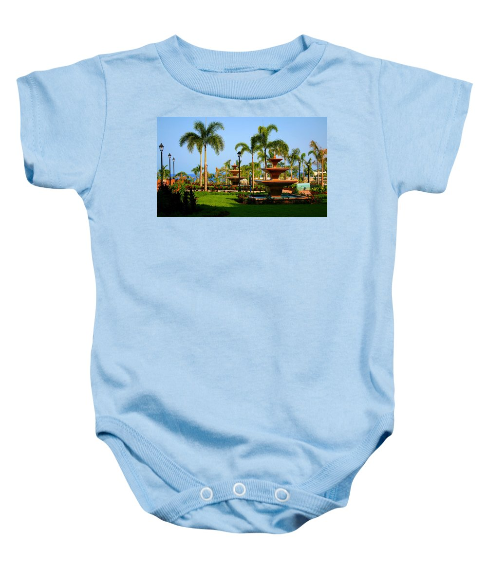 Fountains Baby Onesie featuring the photograph Resort Fountains by Perry Webster