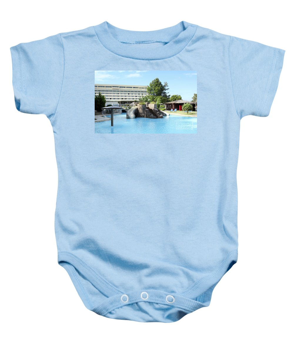 Outdoor Baby Onesie featuring the photograph Resort With Swimming Pool Summer Vacation Scene by Goce Risteski