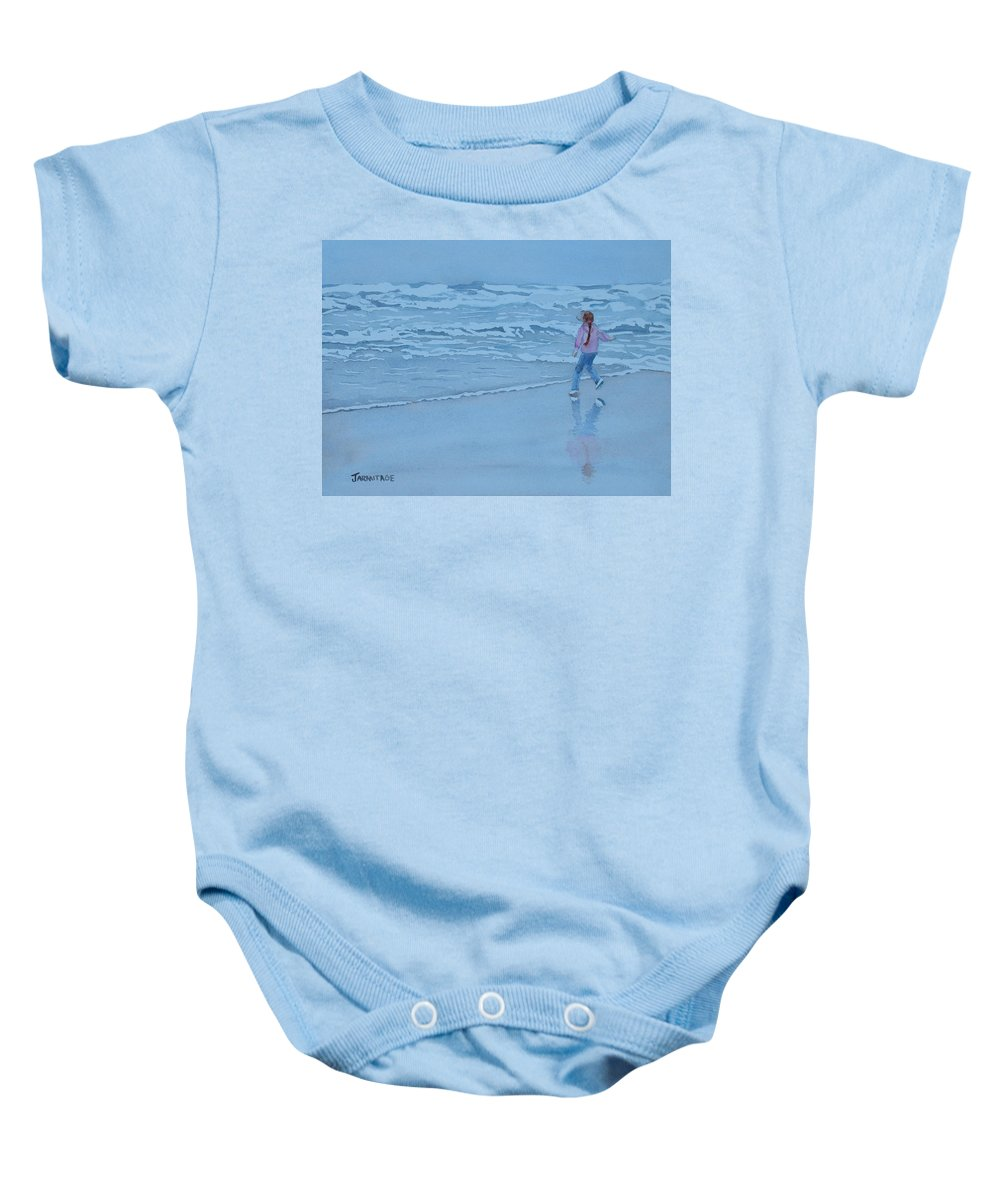 Ocean Baby Onesie featuring the painting Retreat by Jenny Armitage