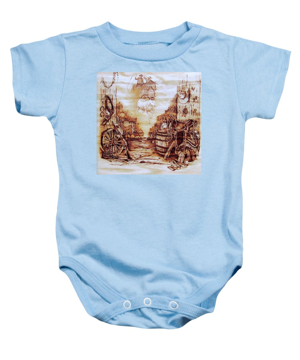 Western Baby Onesie featuring the pyrography Riders In The Sky by Danette Smith
