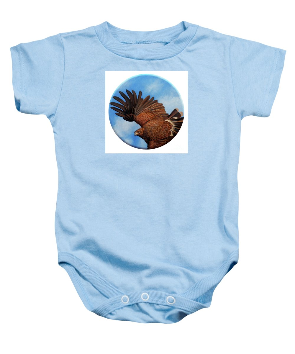 Hawk Baby Onesie featuring the painting Riding The Wind by Brian Commerford