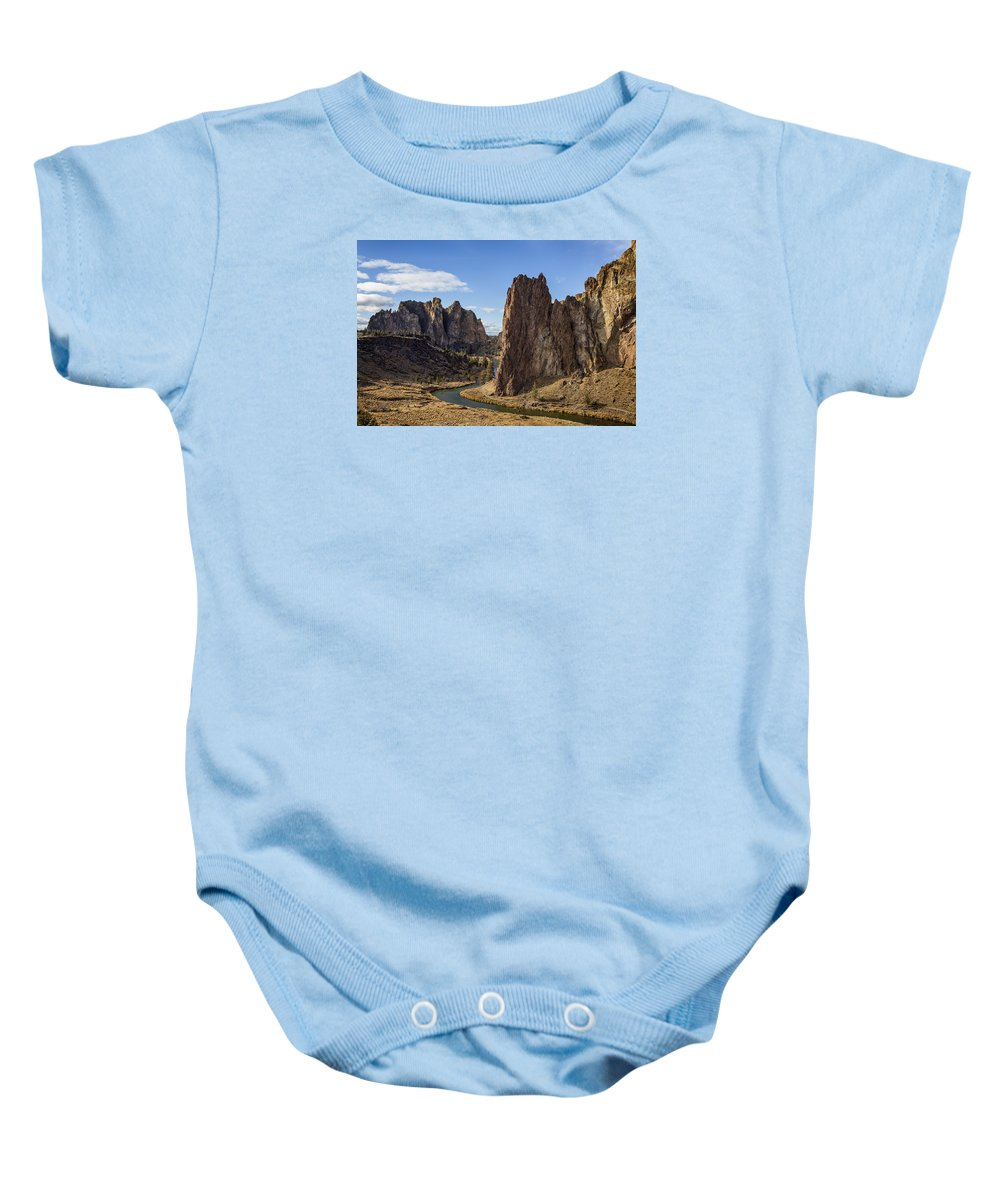 Smith Rock Baby Onesie featuring the photograph River And Rock by Belinda Greb