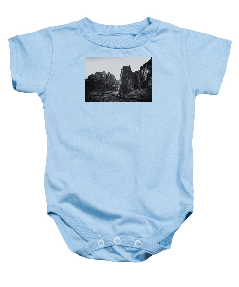 Smith Rock Baby Onesie featuring the photograph River And Rock Bw by Belinda Greb