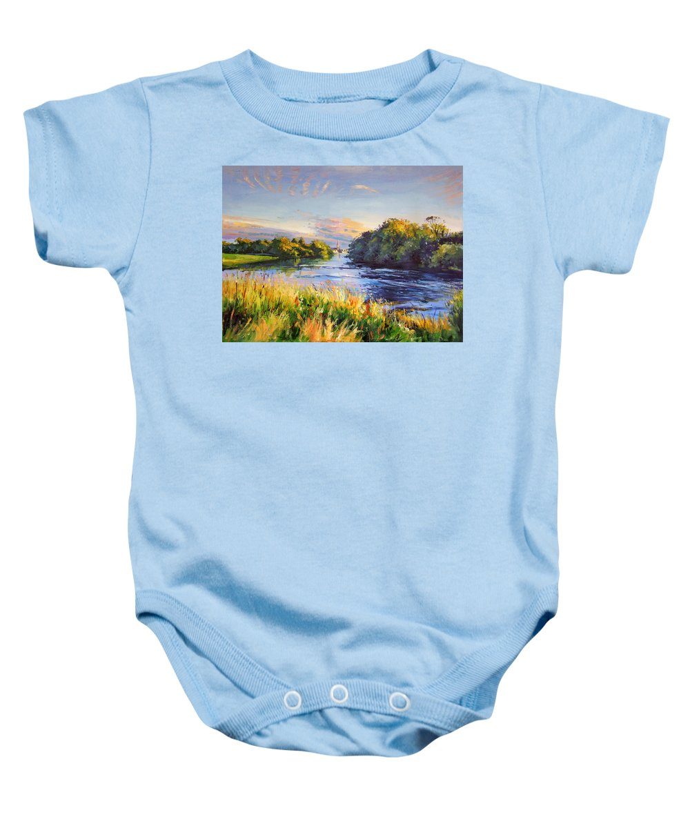River Moy Ballina Baby Onesie featuring the painting River Moy At Ballina by Conor McGuire