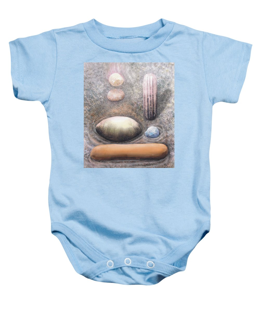 Abstract Baby Onesie featuring the painting River Rock 1 by Valerie Meotti