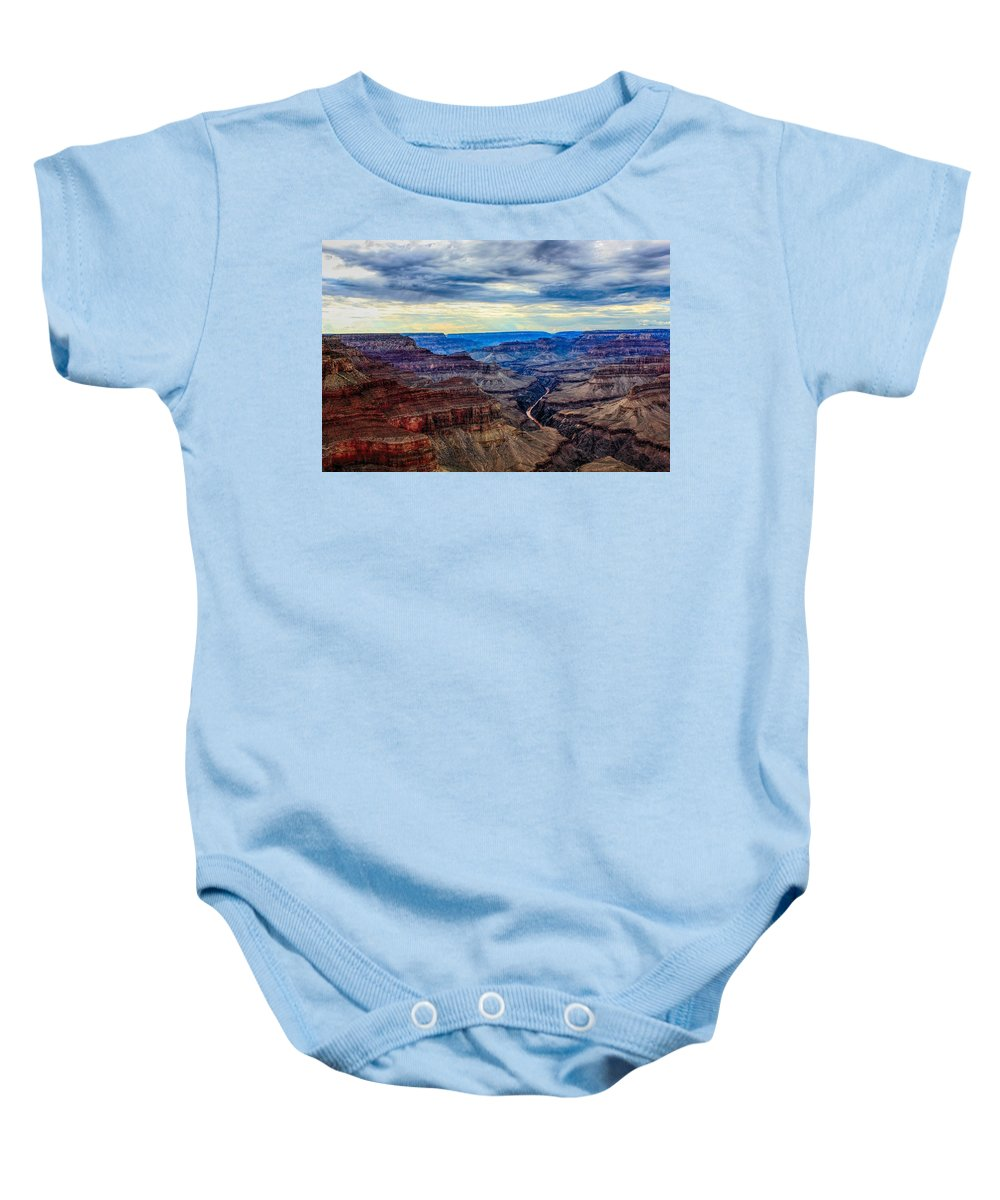 River Baby Onesie featuring the photograph River Through The Canyon by Robert Cox