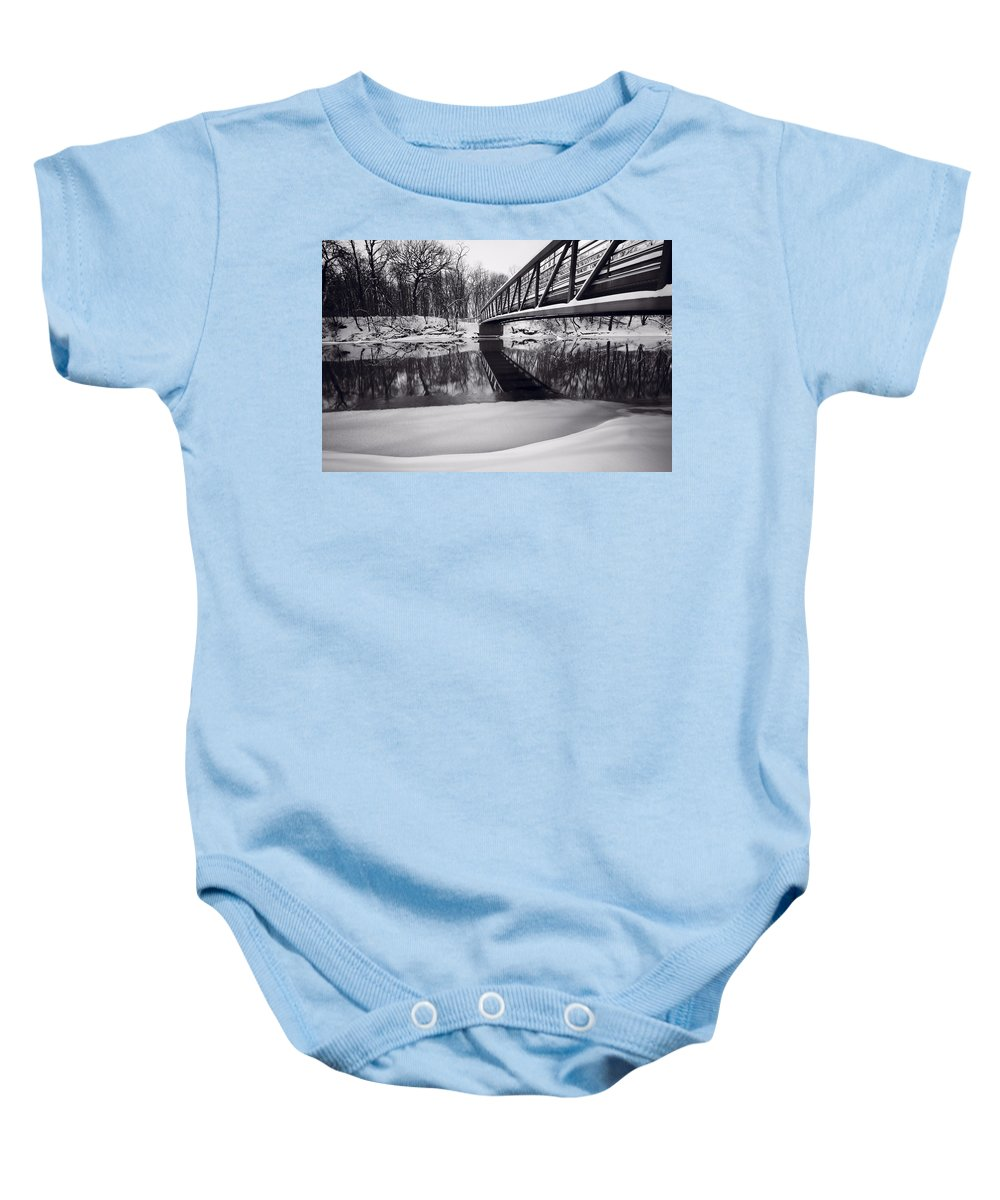 Bridge Baby Onesie featuring the photograph River View B And W by Steve Gadomski