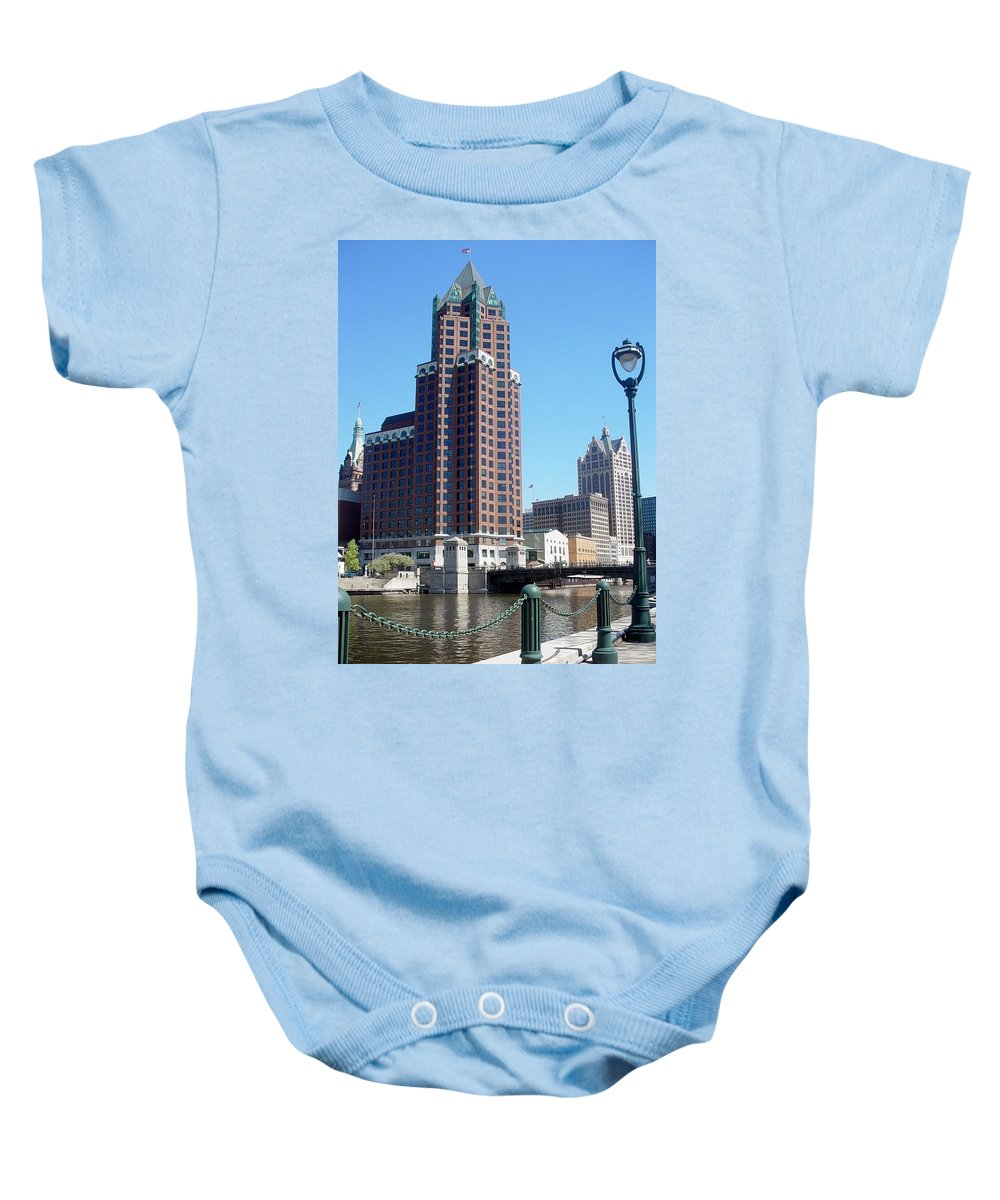 Milwaukee Baby Onesie featuring the photograph River Walk View Photo by Anita Burgermeister