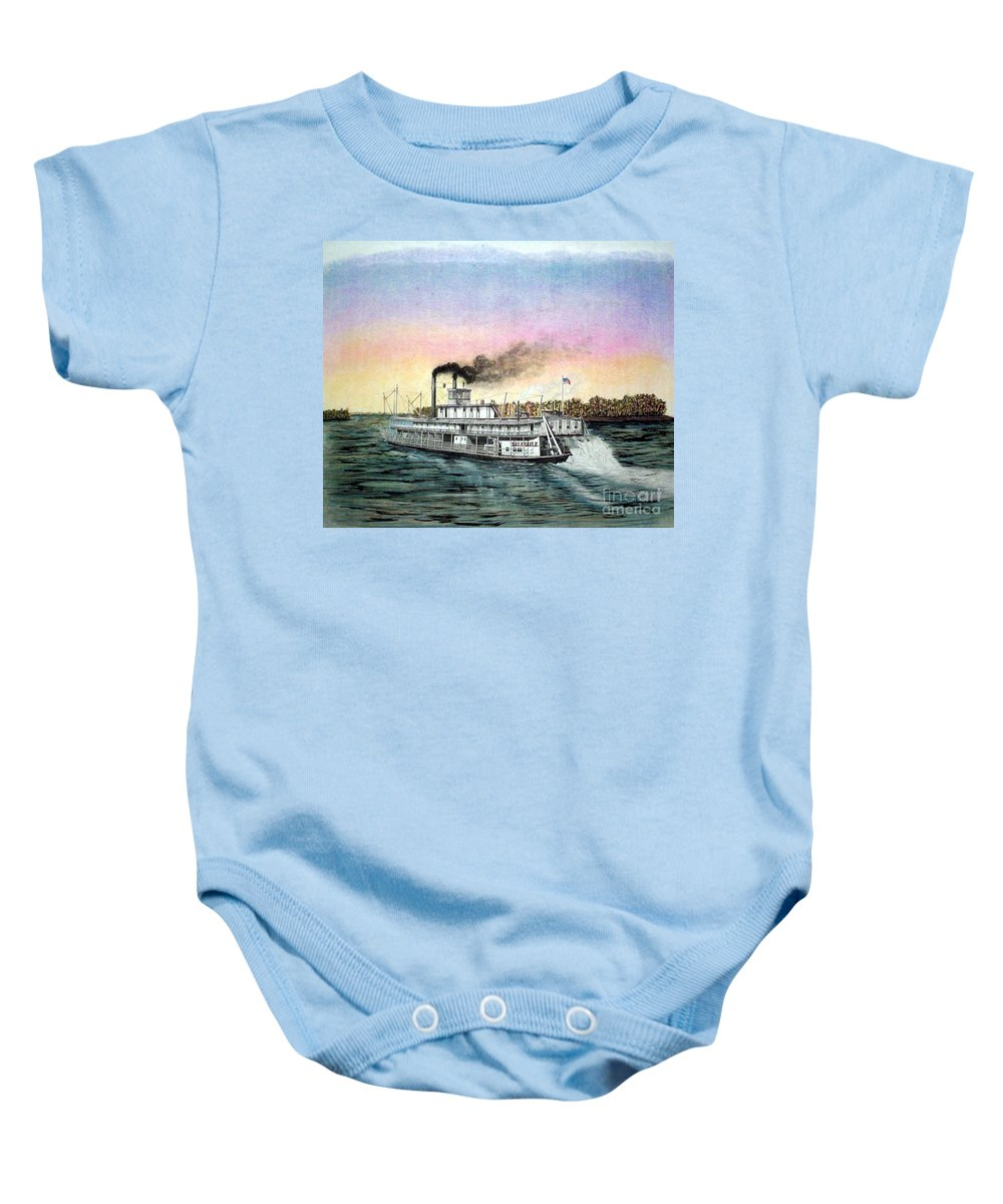 Late 1800s Baby Onesie featuring the drawing Riverboat Bald Eagle by Richard Hall