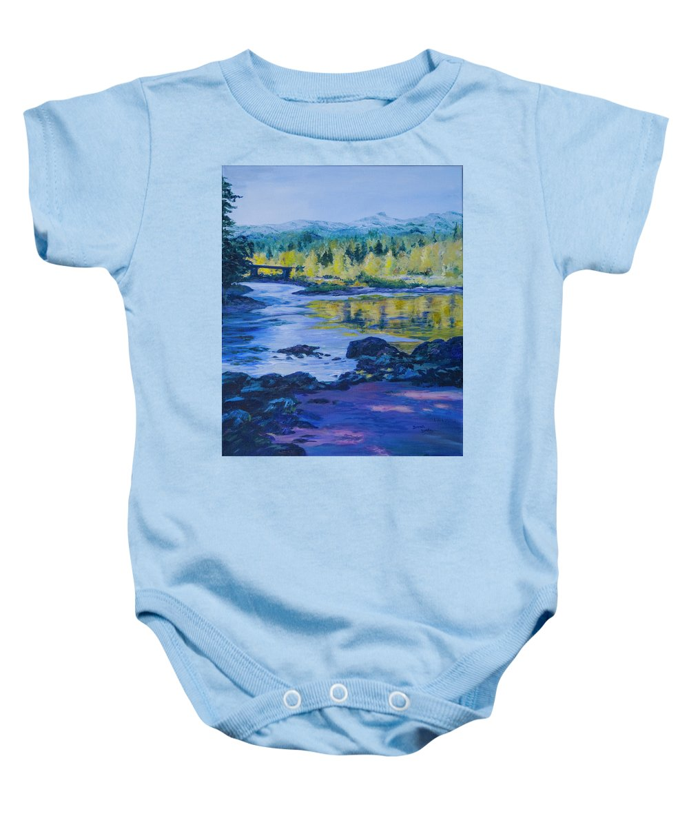 Fishing Hole Baby Onesie featuring the painting Rock Creek Fishing Hole by Donna Drake