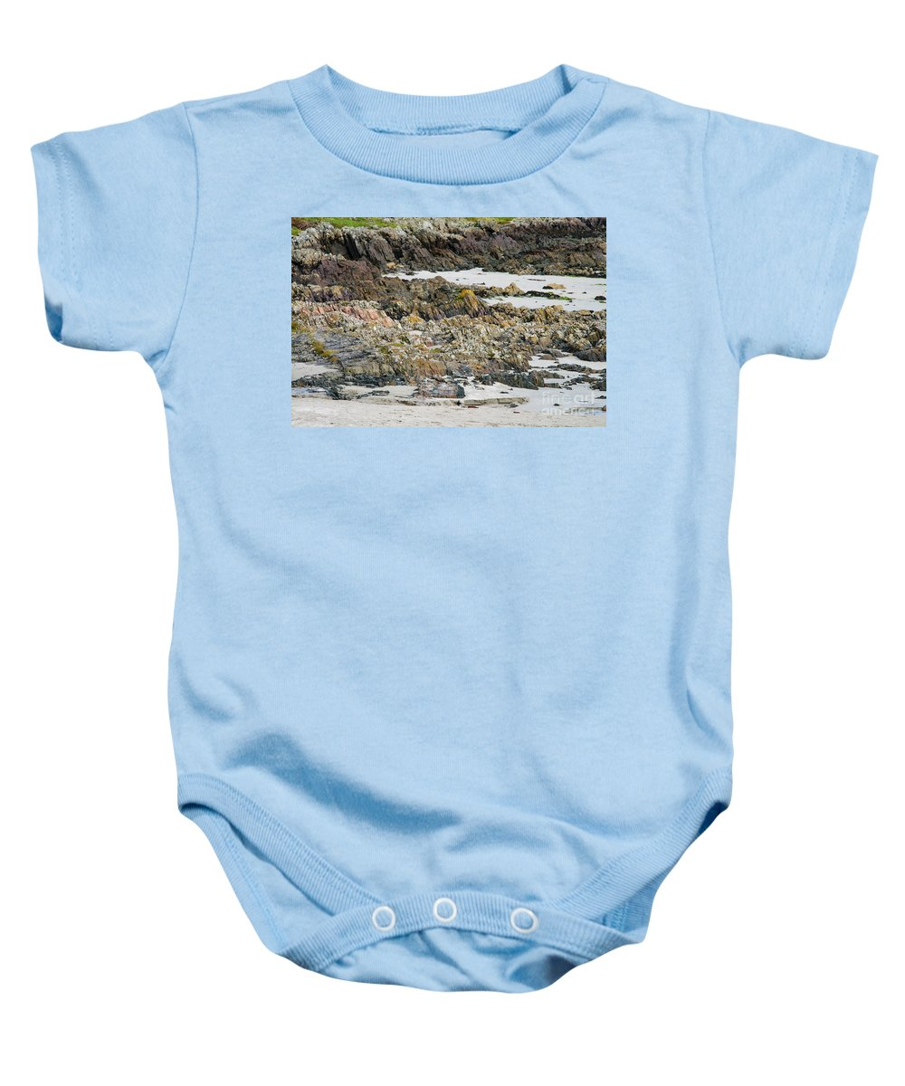 Isle Of Iona Baby Onesie featuring the photograph Rocky And Sandy Beach by Bob Phillips