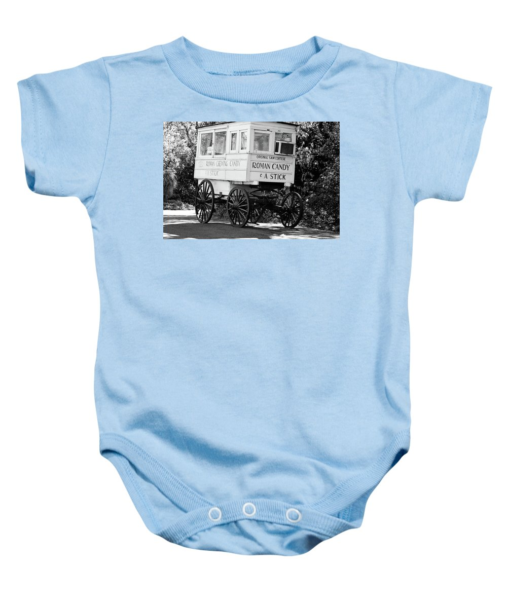 New Orleans Baby Onesie featuring the photograph Roman Candy - Bw by Scott Pellegrin
