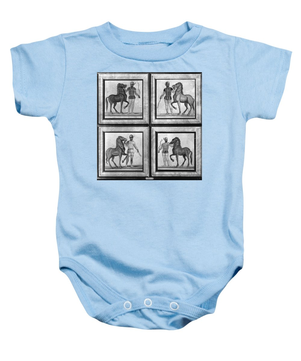 3rd Century Baby Onesie featuring the photograph Roman Mosaic: Charioteers by Granger