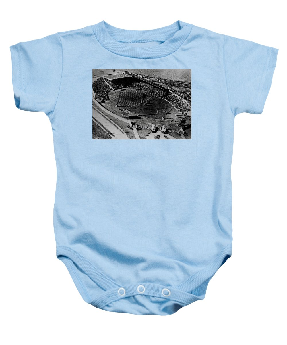 Roosevelt Stadium Baby Onesie featuring the photograph Vintage - Roosevelt Stadium by Doc Braham