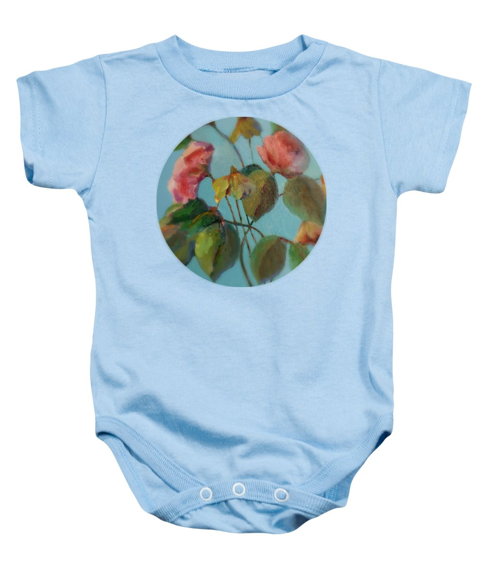 Floral Painting Baby Onesie featuring the painting Roses And Wildflowers by Mary Wolf