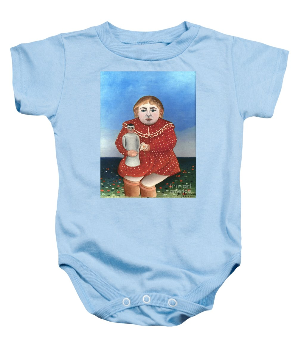 1906 Baby Onesie featuring the photograph Rousseau: Child/doll, C1906 by Granger