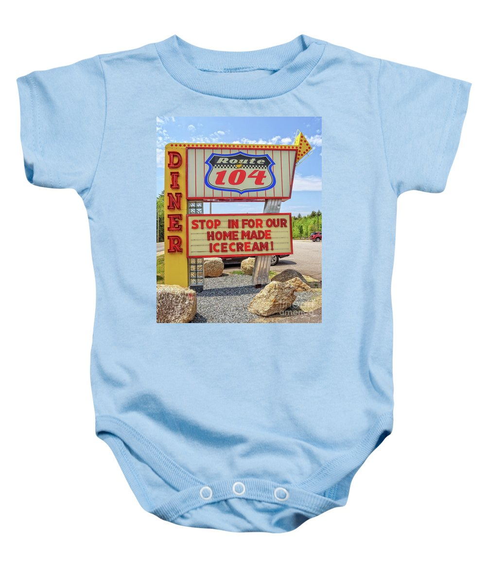 Diner Baby Onesie featuring the photograph Route 104 Diner Sign by Edward Fielding