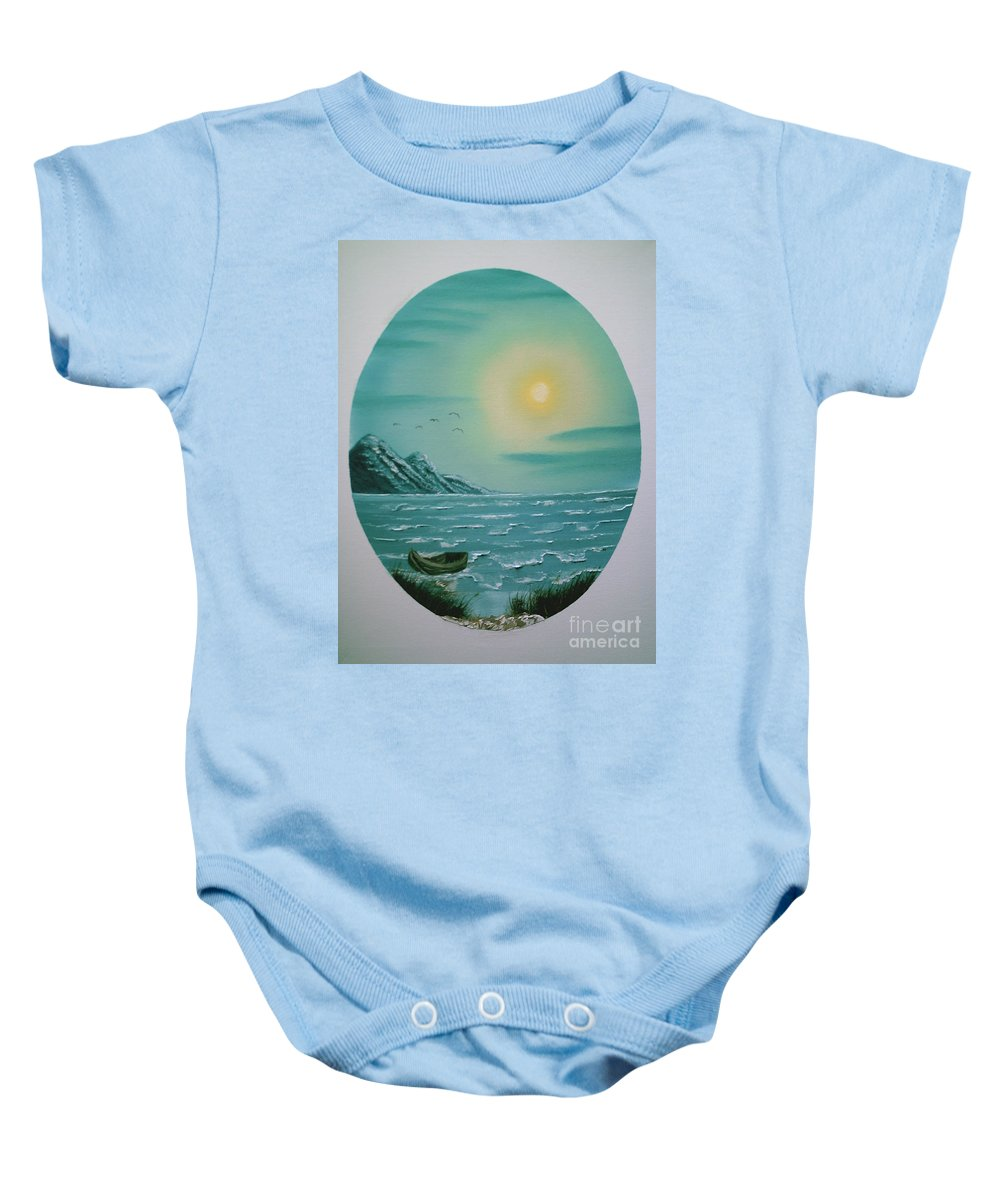 Seascape Baby Onesie featuring the painting Rowboat by Jim Saltis