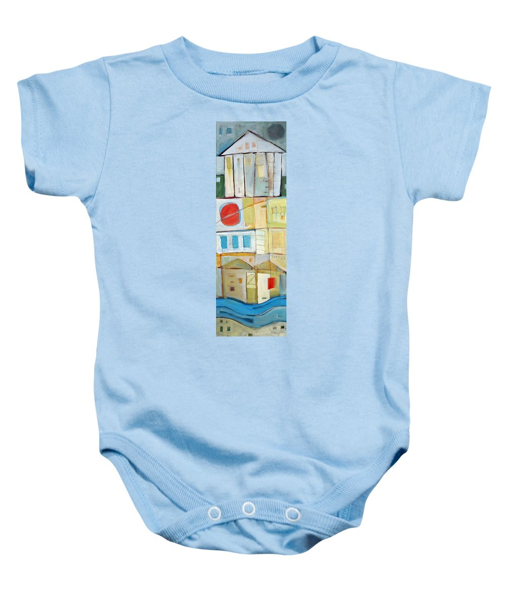 House Baby Onesie featuring the painting Rowhouse No. 2 by Tim Nyberg
