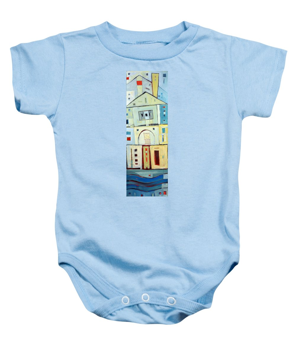 House Baby Onesie featuring the painting Rowhouse No. 3 by Tim Nyberg