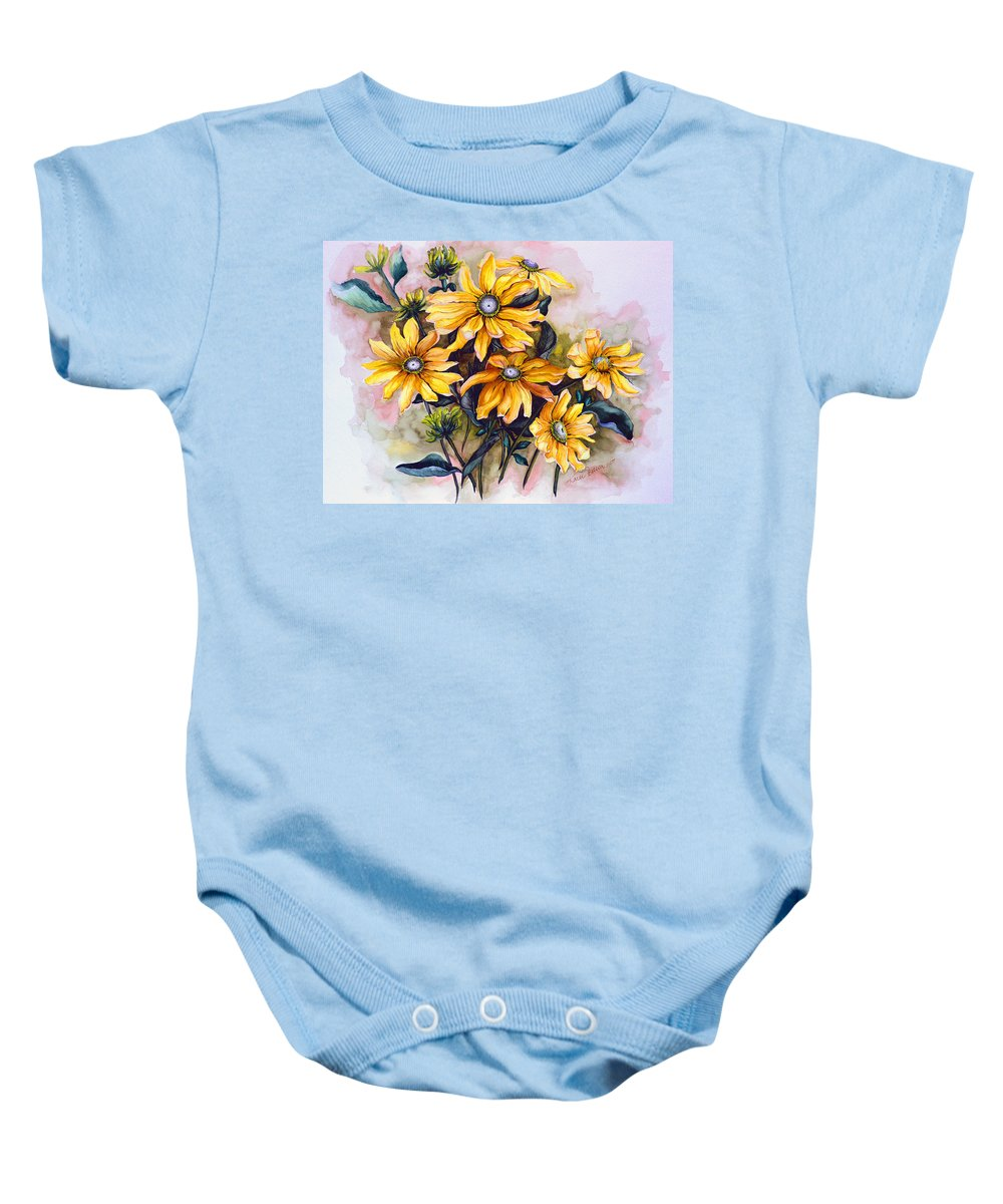Flower Painting Sun Flower Painting Flower Botanical Painting  Original Watercolor Painting Rudebeckia Painting Floral Painting Yellow Painting Greeting Card Painting Baby Onesie featuring the painting Rudbeckia Prairie Sun by Karin Dawn Kelshall- Best