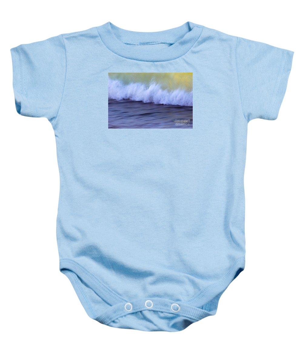 Water Baby Onesie featuring the photograph Rushing To Shore by Jeanne McGee