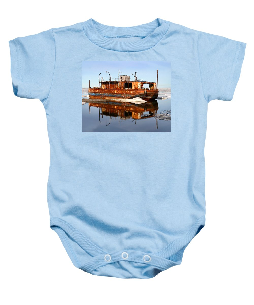 Boat Baby Onesie featuring the photograph Rusty Barge by Anthony Jones