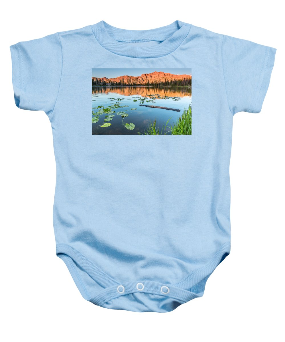 Trailsxposed Baby Onesie featuring the photograph Ruth Lake Lilies by Gina Herbert