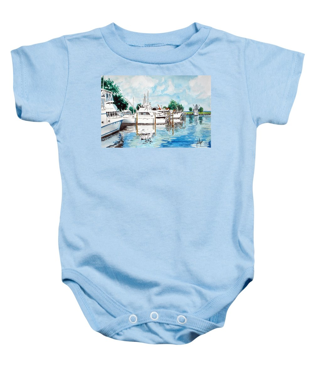 Boats Harbor Coastal Nautical Baby Onesie featuring the painting Safe Harbor by Jim Phillips