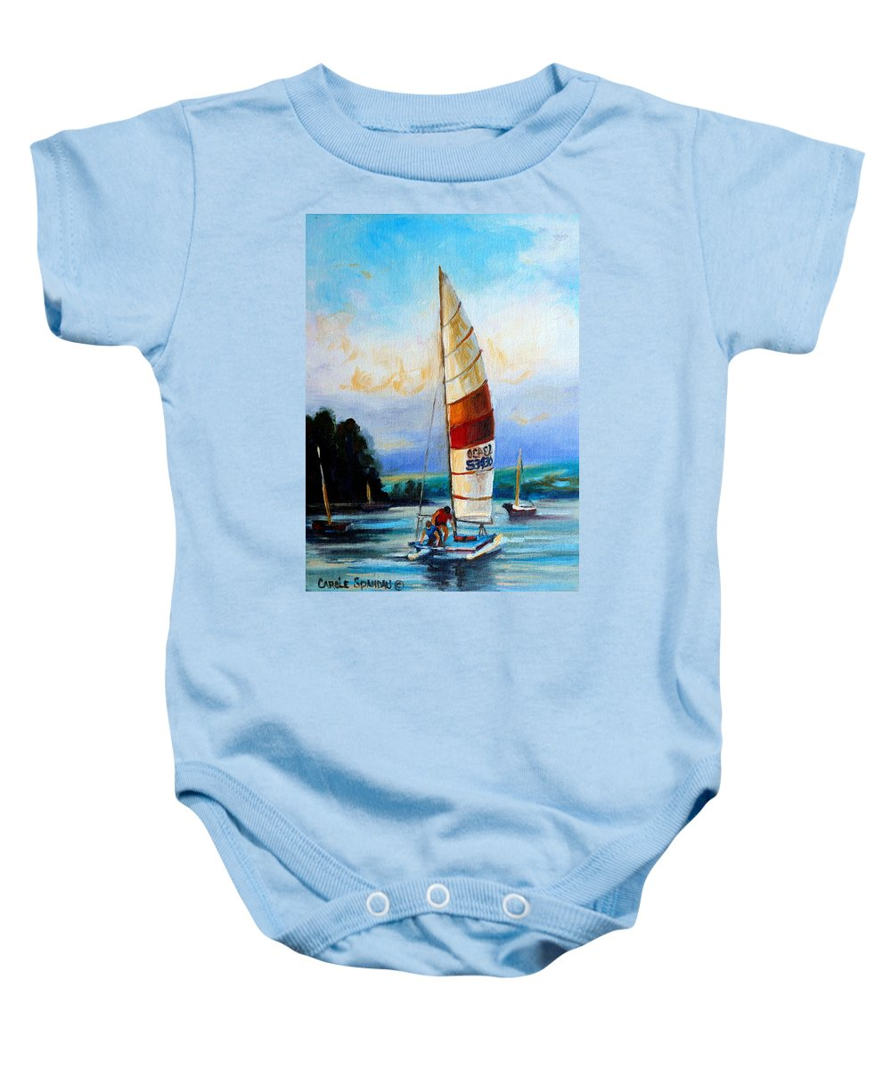Sail Boats On The Lake Baby Onesie featuring the painting Sail Boats On The Lake by Carole Spandau
