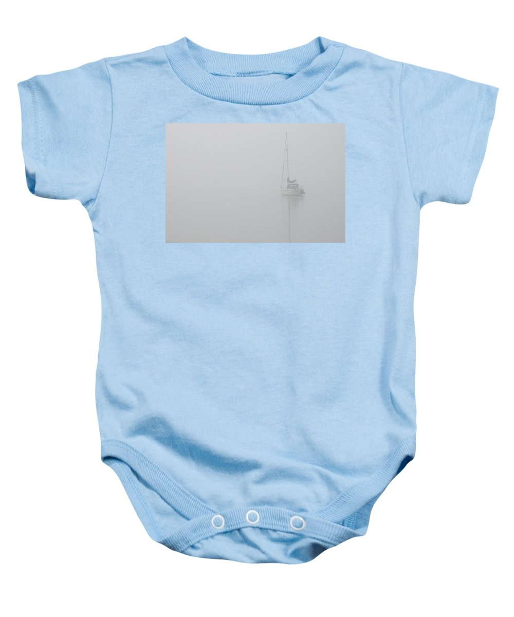 Boat Baby Onesie featuring the photograph Sailboat In Fog by Tim Nyberg